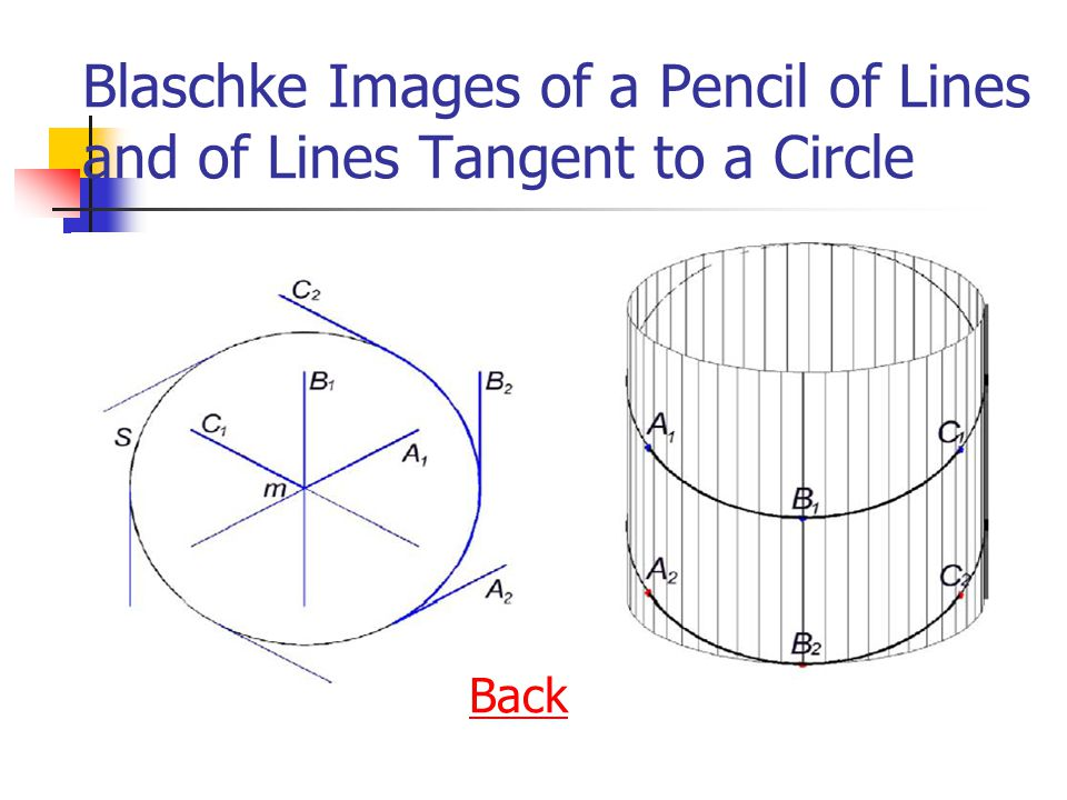 Blaschke Images of a Pencil of Lines and of Lines Tangent to a Circle Back