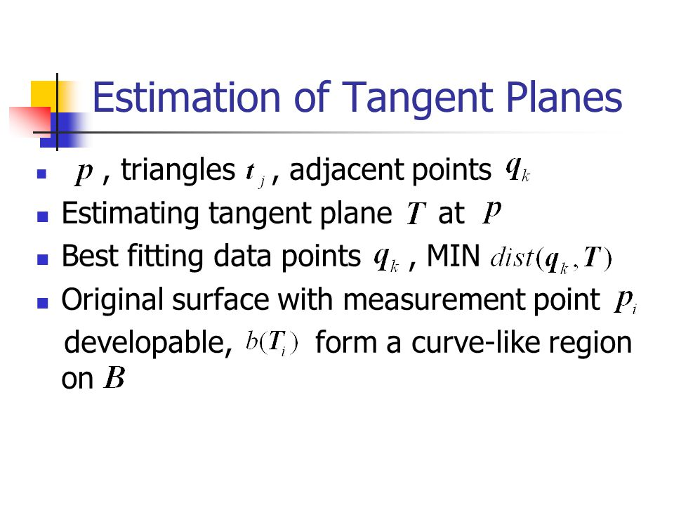 Estimation of Tangent Planes, triangles, adjacent points Estimating tangent plane at Best fitting data points, MIN Original surface with measurement point developable, form a curve-like region on