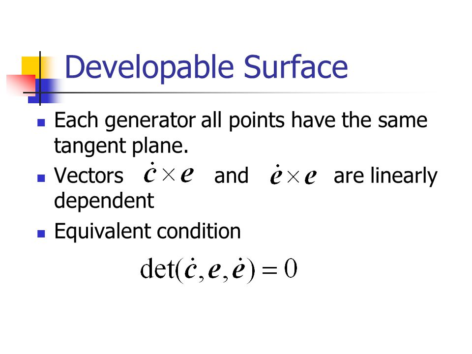 Developable Surface Each generator all points have the same tangent plane.