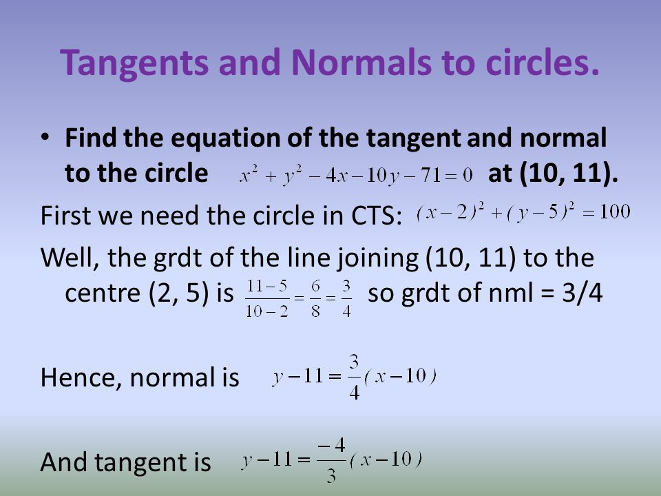 Tangents and Normals to circles.