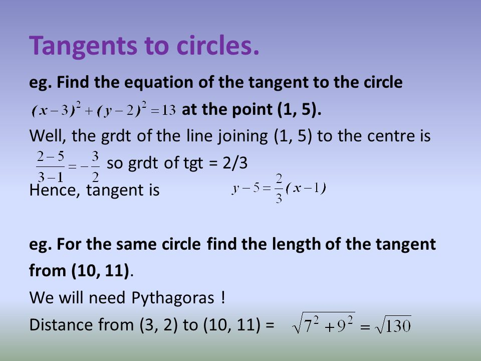 Tangents to circles. eg. Find the equation of the tangent to the circle at the point (1, 5).