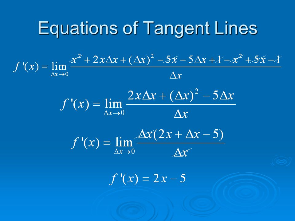  Find the equation of the tangent line to Slope of the tangent line at (7, 15)