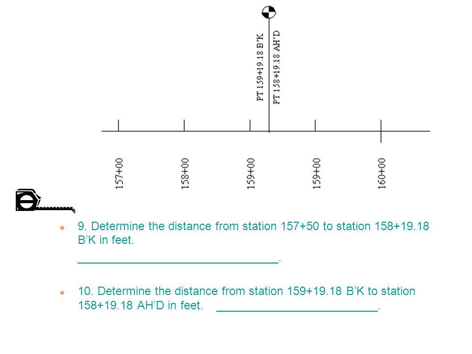 n 9.Determine the distance from station 157+50 to station 158+19.18 B'K in feet.