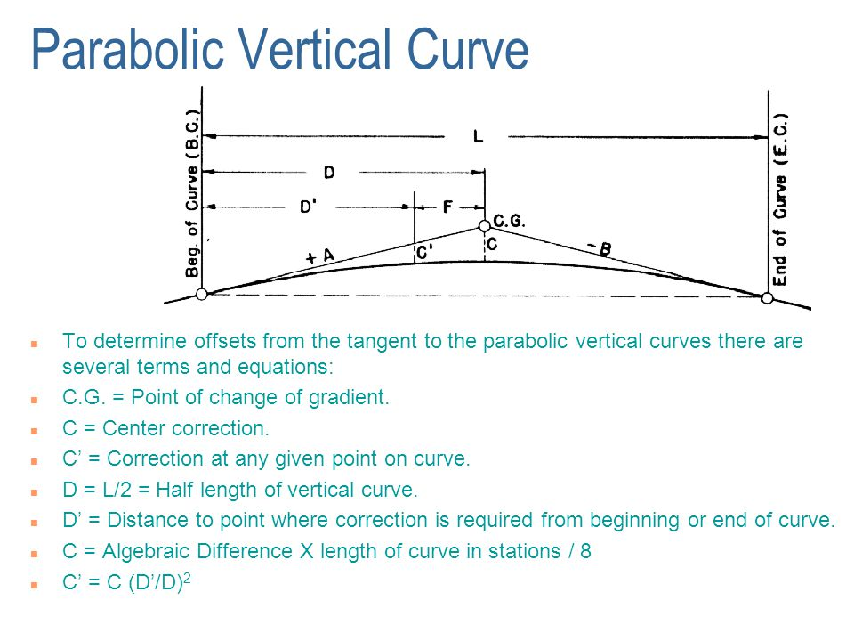 Parabolic Vertical Curve n To determine offsets from the tangent to the parabolic vertical curves there are several terms and equations: n C.G. = Poin