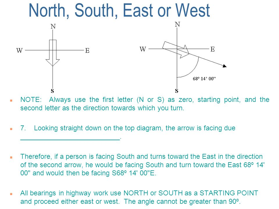 North, South, East or West n NOTE: Always use the first letter (N or S) as zero, starting point, and the second letter as the direction towards which you turn.