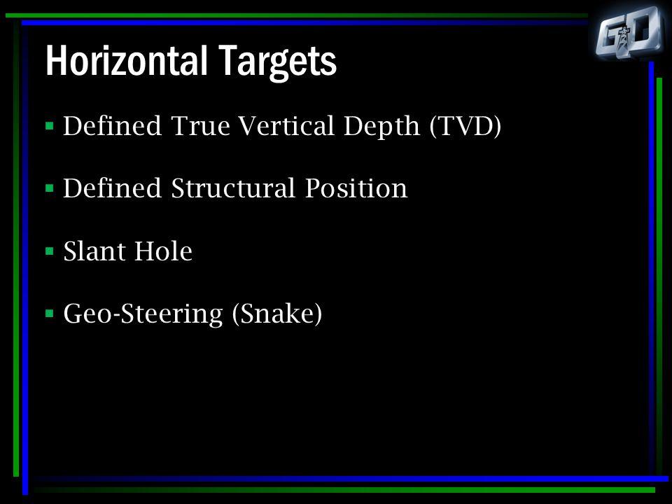 Horizontal Targets  Defined True Vertical Depth (TVD)  Defined Structural Position  Slant Hole  Geo-Steering (Snake)
