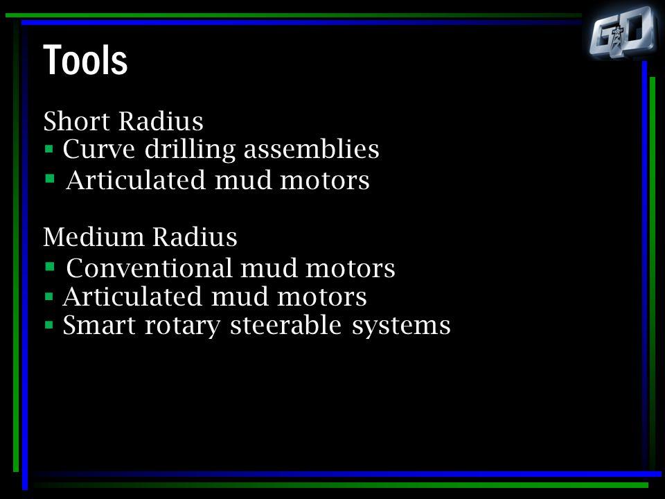 Tools Short Radius  Curve drilling assemblies  Articulated mud motors Medium Radius  Conventional mud motors  Articulated mud motors  Smart rotar