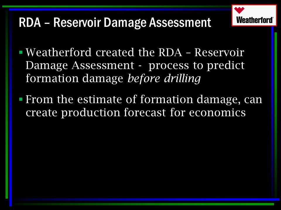 RDA – Reservoir Damage Assessment  Weatherford created the RDA – Reservoir Damage Assessment - process to predict formation damage before drilling 