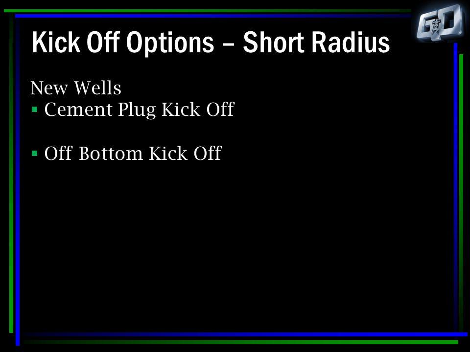 Kick Off Options – Short Radius New Wells  Cement Plug Kick Off  Off Bottom Kick Off