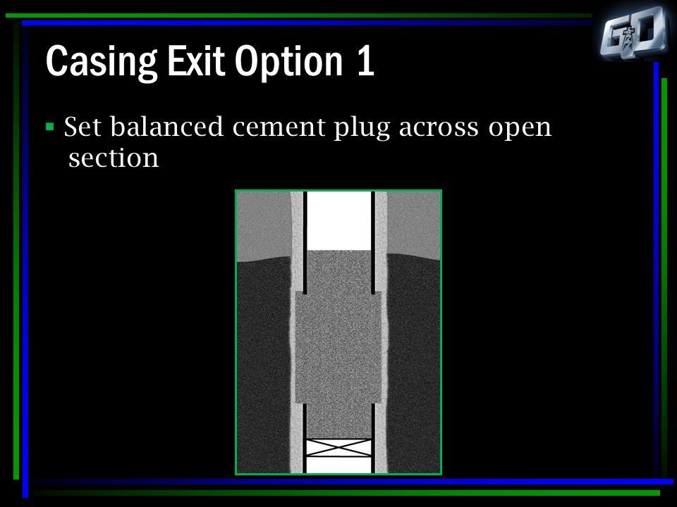 Casing Exit Option 1  Set balanced cement plug across open section