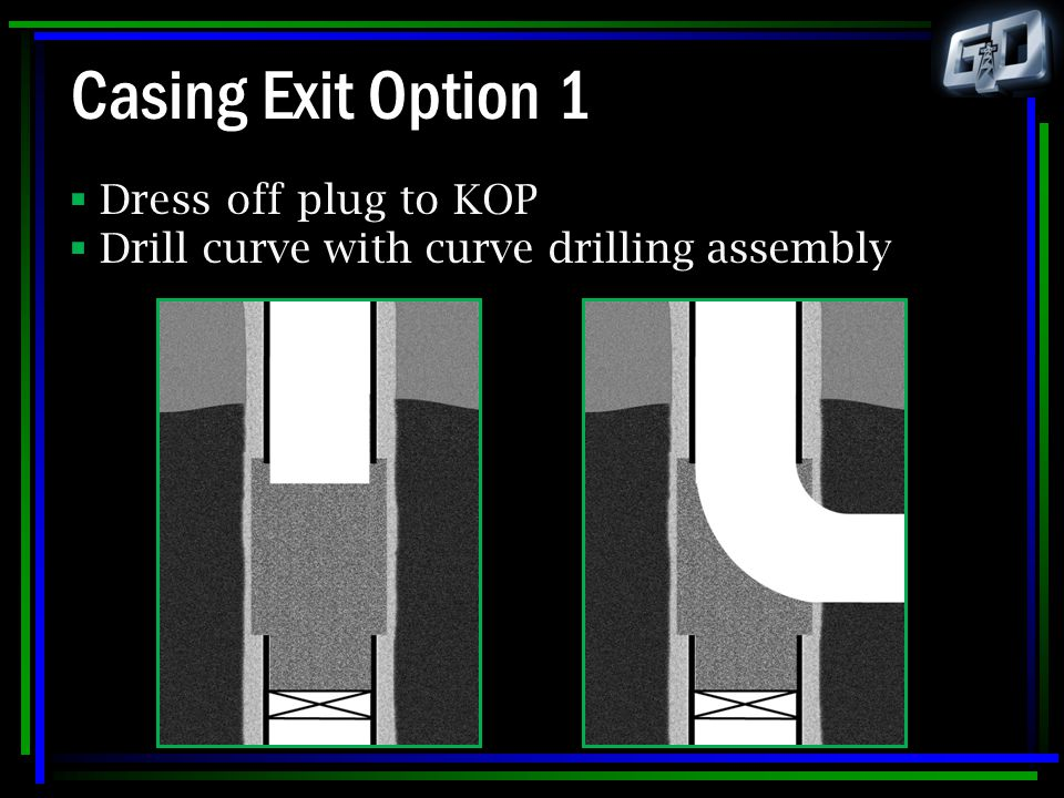 Casing Exit Option 1  Dress off plug to KOP  Drill curve with curve drilling assembly