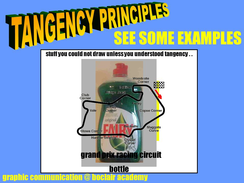 SEE SOME EXAMPLES graphic communication @ boclair academy stuff you could not draw unless you understood tangency.. light bulb crash helmet bbc 2 logo