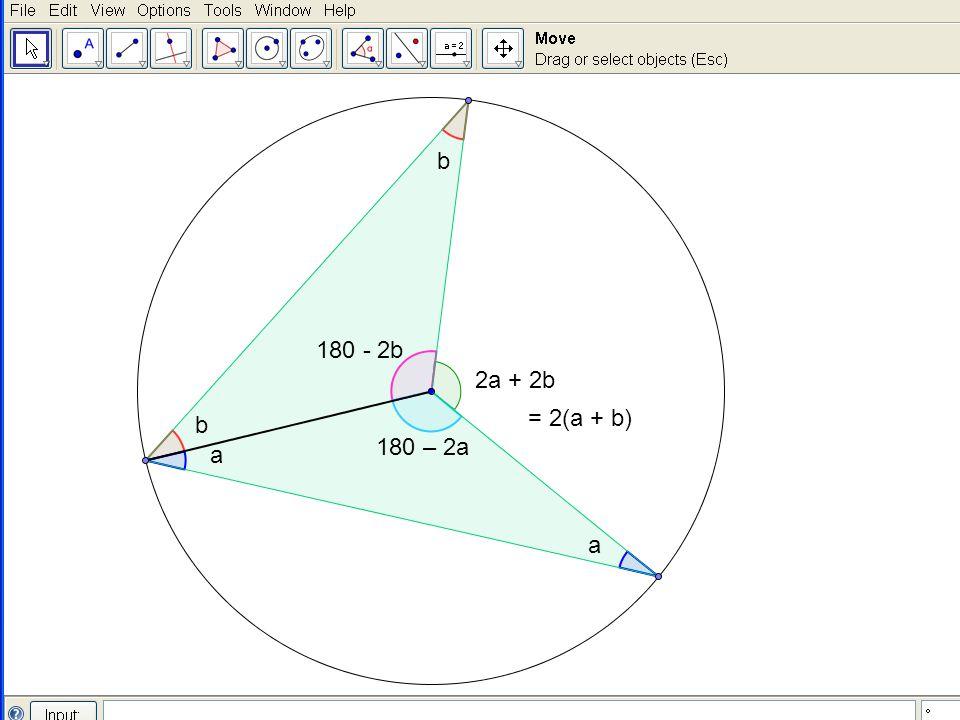 a a b b 180 - 2b 180 – 2a 2a + 2b = 2(a + b)