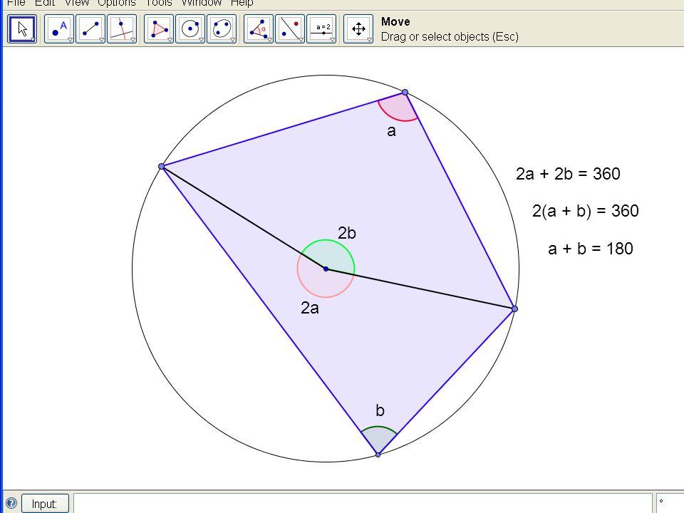 a b 2a 2b 2a + 2b = 360 2(a + b) = 360 a + b = 180