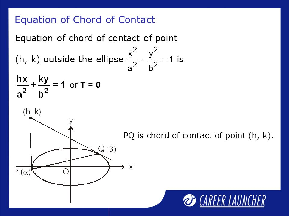 Equation of Chord of Contact Equation of chord of contact of point (h, k) outside the ellipse is or T = 0 PQ is chord of contact of point (h, k).
