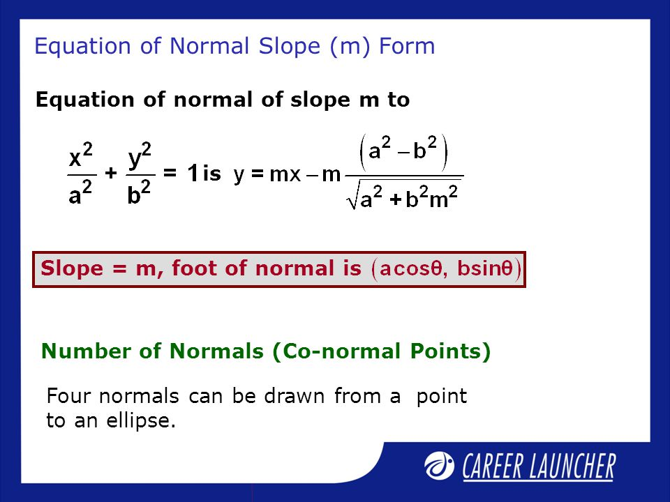 Equation of Normal Slope (m) Form Equation of normal of slope m to is Slope = m, foot of normal is Number of Normals (Co-normal Points) Four normals c