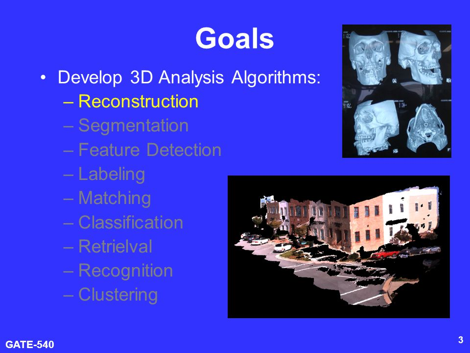 GATE-540 4 Goal of Surface Reconstruction Have a set of unorganized points Reconstruct a surface model that best approximates the real surface