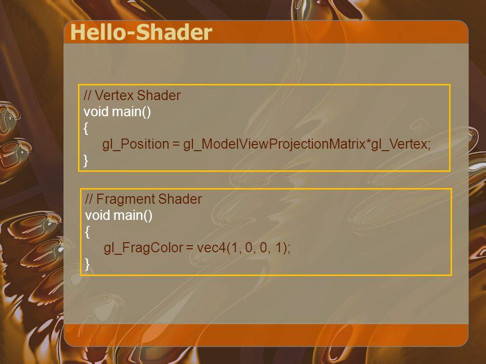 Hello-Shader // Vertex Shader void main() { gl_Position = gl_ModelViewProjectionMatrix*gl_Vertex; } // Fragment Shader void main() { gl_FragColor = vec4(1, 0, 0, 1); }