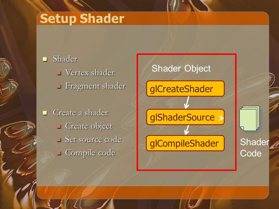 Setup Shader glCreateShader glShaderSource glCompileShader Shader Object Shader Code Shader Shader Vertex shader Vertex shader Fragment shader Fragment shader Create a shader Create a shader Create object Create object Set source code Set source code Compile code Compile code
