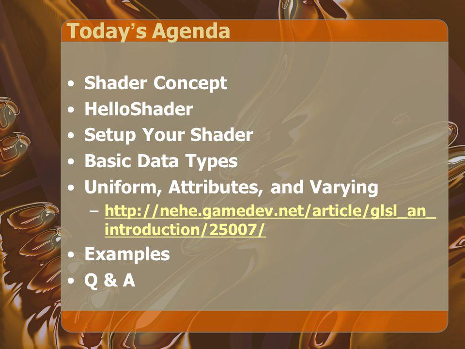 Setup Shader Programming Like OpenGL lighting/texture, its setup is a bit messy.