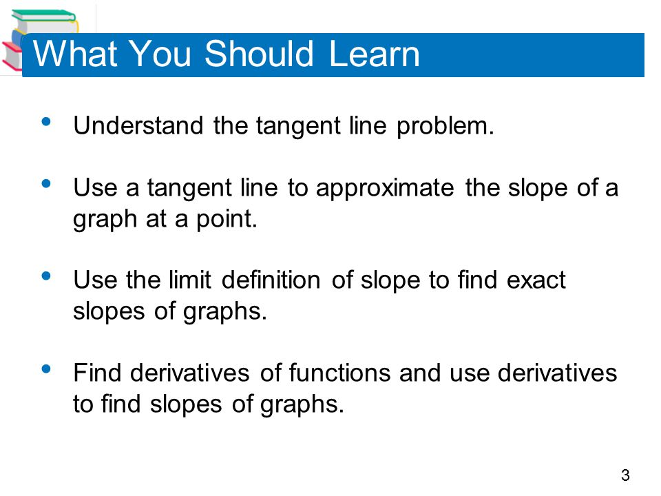3 What You Should Learn Understand the tangent line problem.