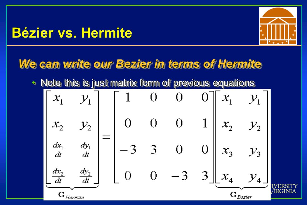 Bézier vs. Hermite We can write our Bezier in terms of Hermite Note this is just matrix form of previous equationsNote this is just matrix form of pre