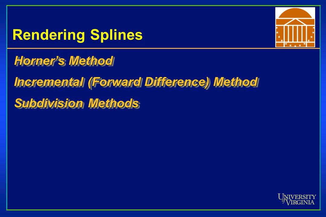 Rendering Splines Horner's Method Incremental (Forward Difference) Method Subdivision Methods Horner's Method Incremental (Forward Difference) Method Subdivision Methods