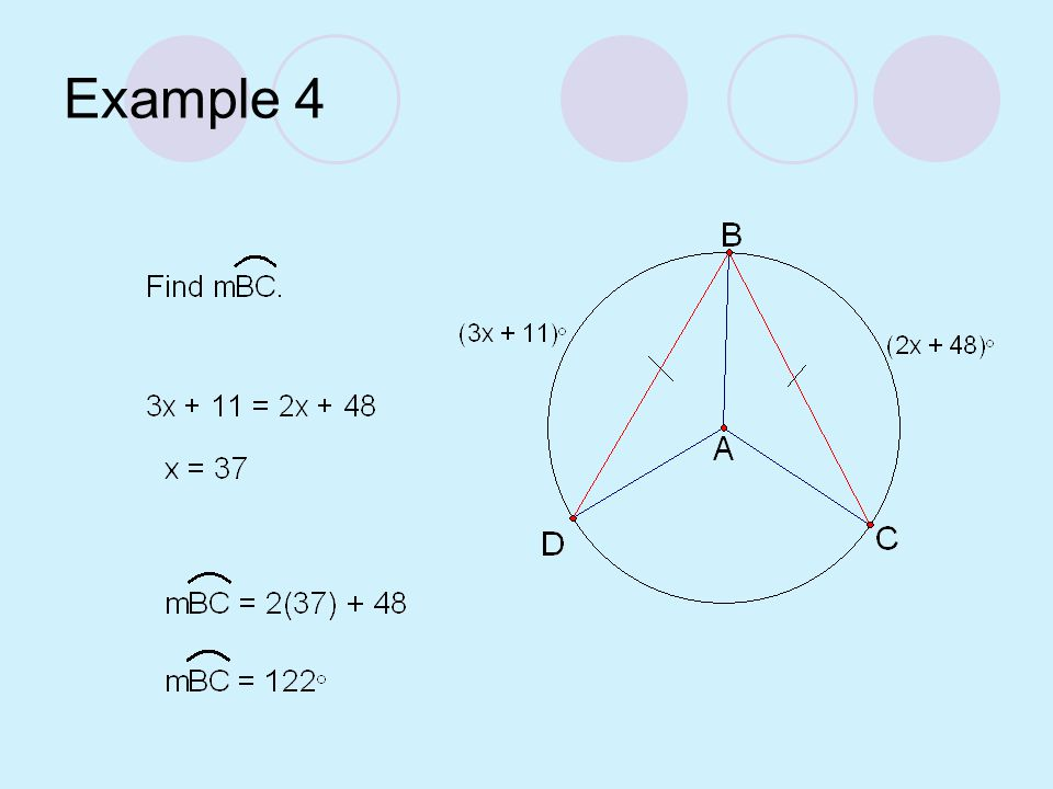 Example 3 Find the measures of the red arcs. Are the arcs congruent?
