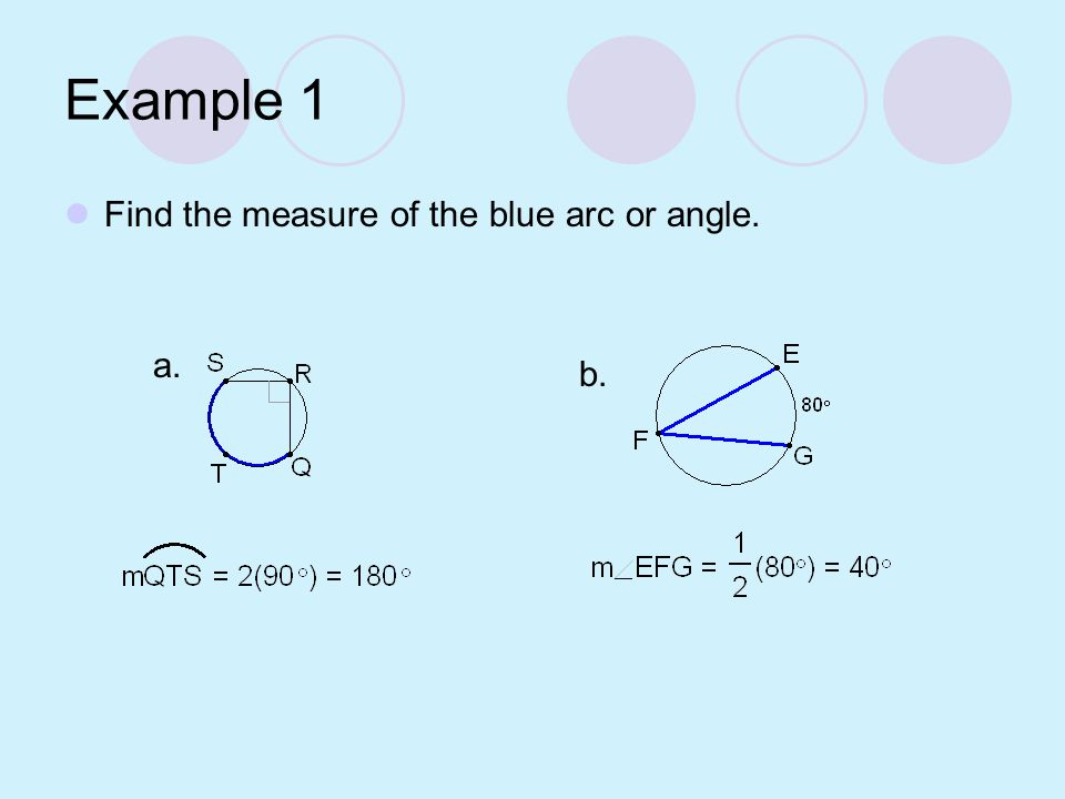 Measure of an Inscribed Angle Theorem If an angle is inscribed in a circle, then its measure is half the measure of its intercepted arc.