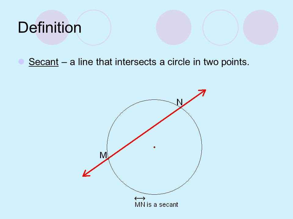 Definition Chord – a segment whose endpoints are points on the circle.