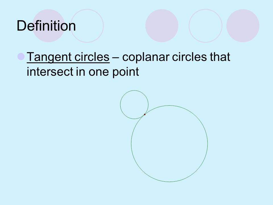 Example 1 Tell whether the line or segment is best described as a chord, a secant, a tangent, a diameter, or a radius. tangent diameter chord radius