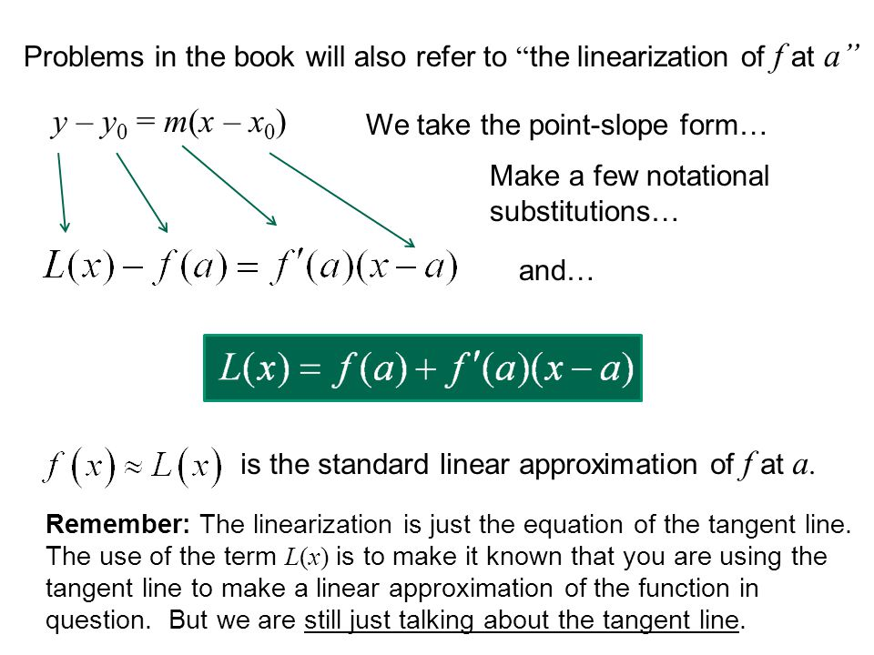 Remember: The linearization is just the equation of the tangent line. The use of the term L(x) is to make it known that you are using the tangent line