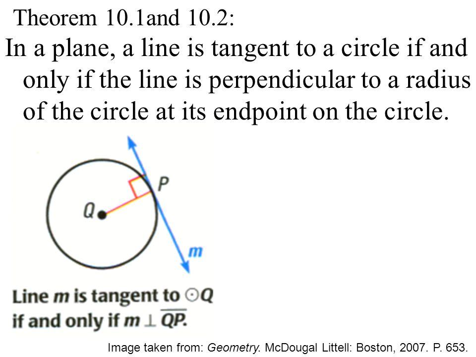 Theorem 10.1and 10.2: Image taken from: Geometry.McDougal Littell: Boston, 2007.