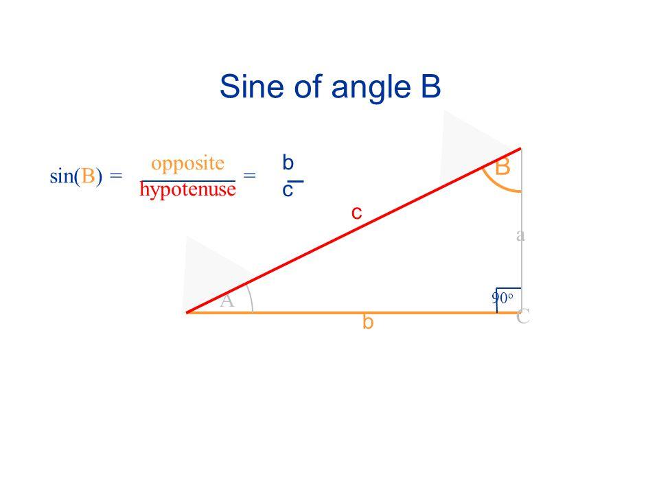 Sine of angle B A B 90 o C a c b sin(B) == bcbc opposite hypotenuse
