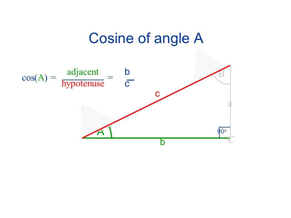 Cosine of angle A A B 90 o C a c b cos(A) == bcbc adjacent hypotenuse