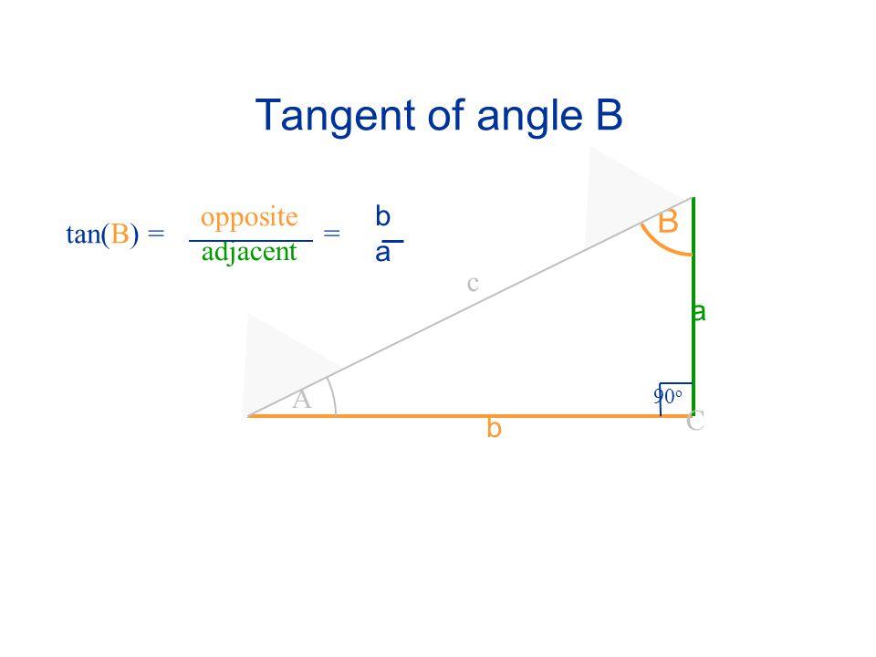 Tangent of angle B A B 90 o C a c b tan(B) = opposite adjacent baba =