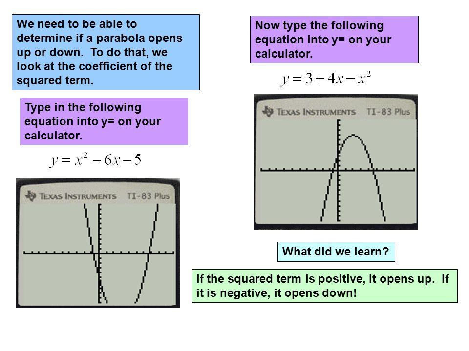 We need to be able to determine if a parabola opens up or down. To do that, we look at the coefficient of the squared term. Type in the following equa