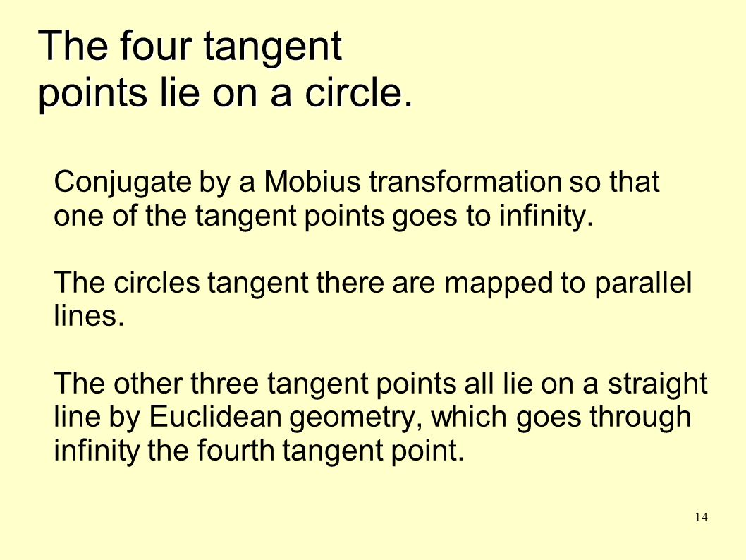 14 The four tangent points lie on a circle.