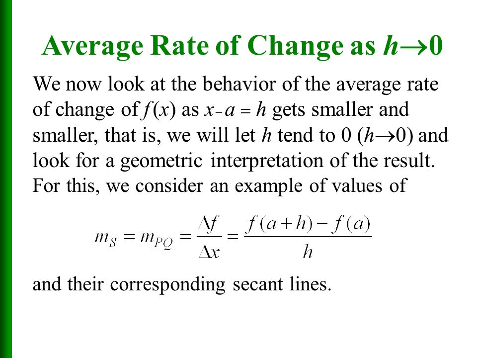 We now look at the behavior of the average rate of change of f (x) as x  a  h gets smaller and smaller, that is, we will let h tend to 0 (h  0) and look for a geometric interpretation of the result.