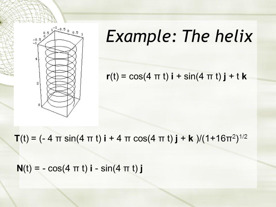 Example: The helix T(t) = (- 4 π sin(4 π t) i + 4 π cos(4 π t) j + k )/(1+16π 2 ) 1/2 N(t) = - cos(4 π t) i - sin(4 π t) j r(t) = cos(4 π t) i + sin(4 π t) j + t k