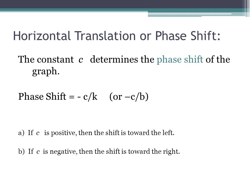 The constant c determines the phase shift of the graph. Phase Shift = - c/k (or –c/b) a) If c is positive, then the shift is toward the left. b) If c