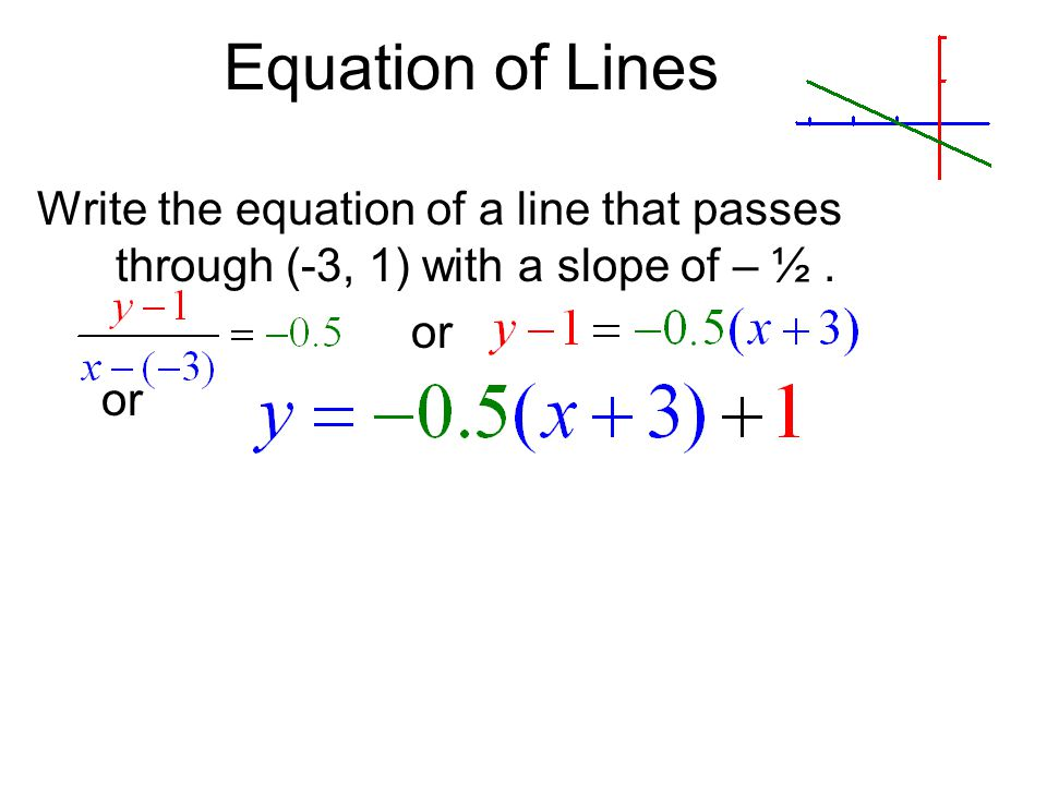 Equation of Lines Write the equation of a line that passes through (-3, 1) with a slope of – ½. or