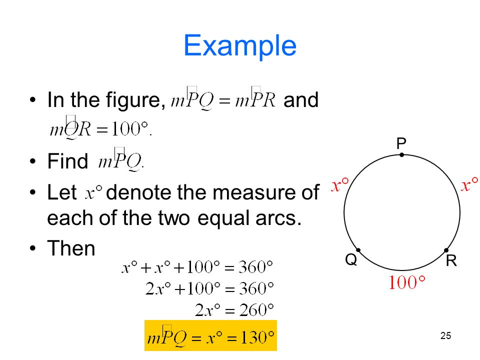 25 Example In the figure, and Find Let denote the measure of each of the two equal arcs. Then P Q R