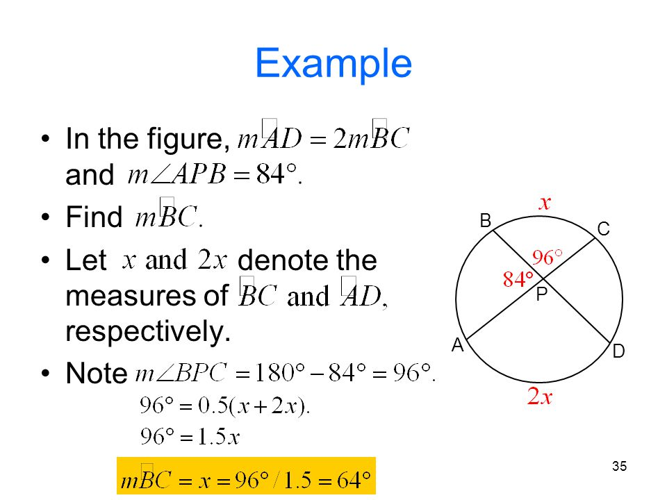 35 Example In the figure, and Find Let denote the measures of respectively. Note A B C D P