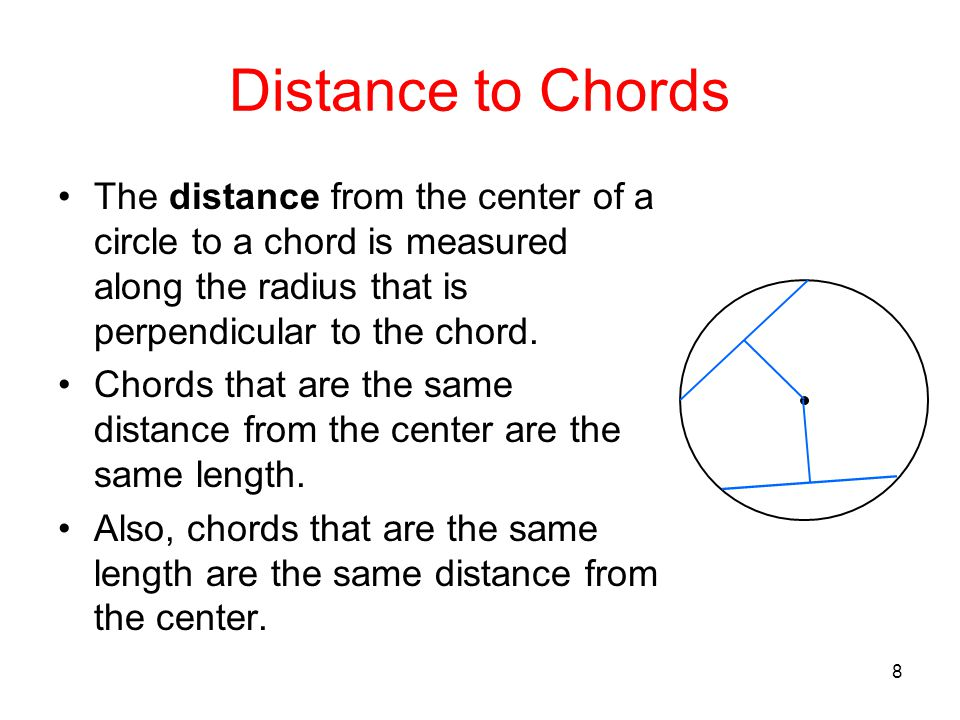 8 Distance to Chords The distance from the center of a circle to a chord is measured along the radius that is perpendicular to the chord. Chords that