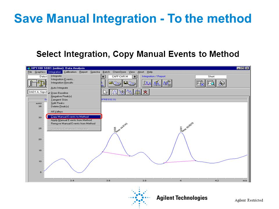 Agilent Restricted Option 1: Save Manual Integration to Method Select Integration, Copy Manual Events to Method Save Manual Integration - To the metho