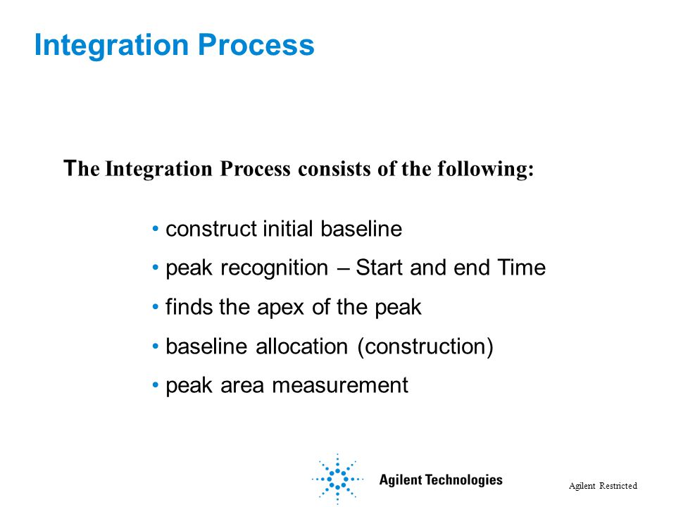 Agilent Restricted T he Integration Process consists of the following: construct initial baseline peak recognition – Start and end Time finds the apex