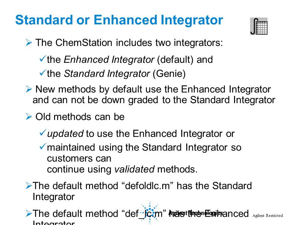Agilent Restricted Standard or Enhanced Integrator  The ChemStation includes two integrators: the Enhanced Integrator (default) and the Standard Inte