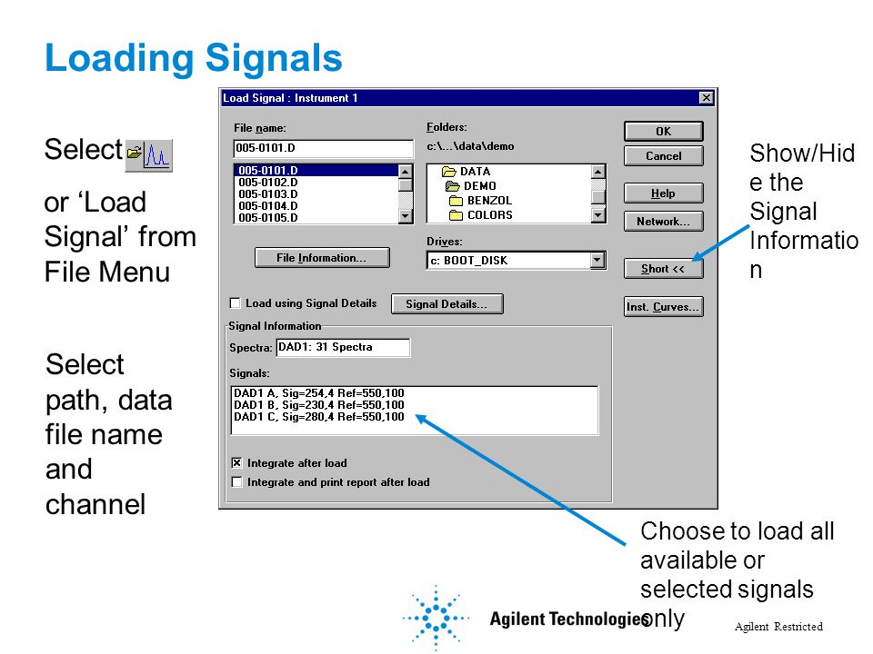 Agilent Restricted Loading Signals Select path, data file name and channel Select or 'Load Signal' from File Menu Show/Hid e the Signal Informatio n C