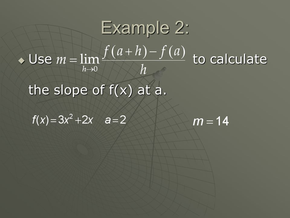 Example 2:  Use to calculate the slope of f(x) at a.